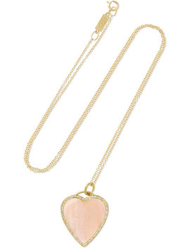 Heart 18 Karat Gold, Opal And Diamond Necklace by Jennifer Meyer