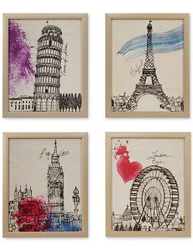 Intelligent Design European Summer Days 4 Pc. Framed Gel Coated Canvas Print Set by Jla Home