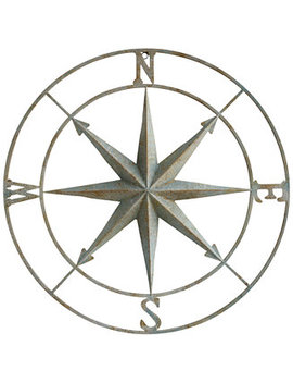 Round Metal Compass Wall Décor by 3 R Studio