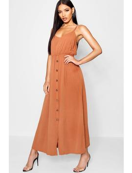 Horn Button Tie Back Maxi Dress by Boohoo