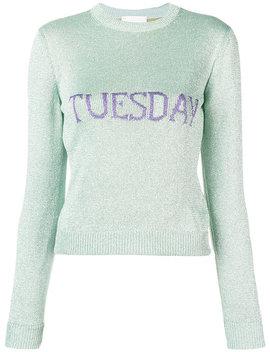 Alberta Ferretti Tuesday Intarsia Sweaterhome Women Alberta Ferretti Clothing Knitted Sweaters by Alberta Ferretti