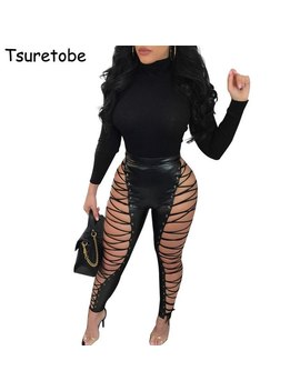 Tsuretobe Hollow Out Lace Up Sexy Pencil Pants Women High Waist Bandage Leggings Club Party Pu Faux Leather Pants Female by Tsuretobe