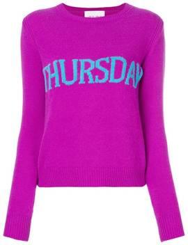Alberta Ferretti Thursday Intarsia Jumperhome Women Alberta Ferretti Clothing Knitted Sweaters by Alberta Ferretti