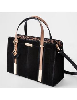 Black Contrast Ri Leopard Panel Tote Bag by River Island