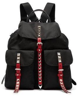 Stud Embellished Nylon Backpack by Prada
