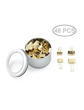 Skkstationery 48 Pcs Binder Clips, Gold Style, 1 Inch & 0.75 Inch. by Skkstationery