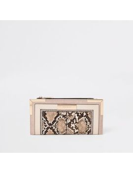 Light Biege Snake Embossed Foldout Purse by River Island