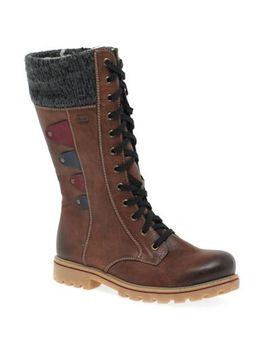 Rieker   Brown 'marvelflat Calf Length Boots by Rieker