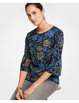 Floral Ponte Gathered Sleeve Top by Ann Taylor