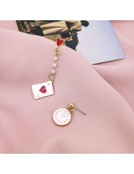 Wind Valley   Non Matching Poker Heart & Clock Drop Earring by Wind Valley