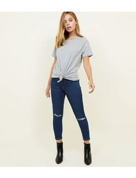 Petite Navy Ripped Knee Jenna Skinny Jeans by New Look
