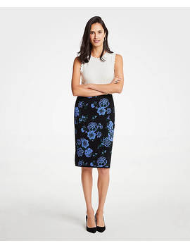 Floral Jacquard Sweater Pencil Skirt by Ann Taylor
