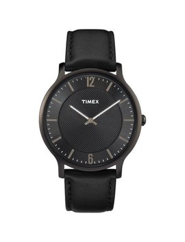Timex Men's Metropolitan 40mm Black Watch, Leather Strap by Timex
