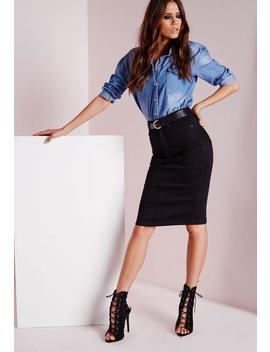 High Waisted Midi Denim Skirt Black by Missguided