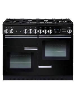 Rangemaster Professional+ 110 Dual Fuel Range Cooker, Black, Gloss Black by Rangemaster