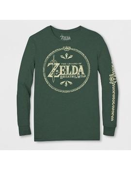 Men's Long Sleeve Nintendo Zelda Crew T Shirt   Olive Heather by Nintendo