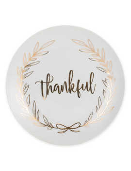"Everyday White® By Fitz And Floyd® ""Thankful"" Coupe Salad Plate In White by Bed Bath And Beyond"