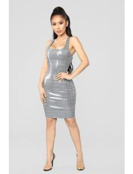 Covent Garden Coated Plaid Dress   Grey by Fashion Nova