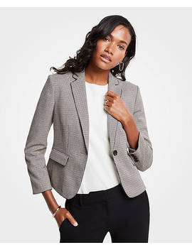 Piped Plaid Blazer by Ann Taylor