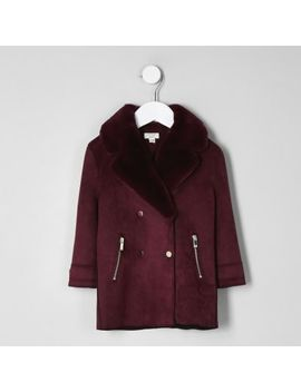 Mini Girls Burgundy Faux Fur Suede Coat by River Island