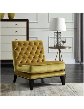 Chic Home Hector Gold Upholstered Velvet Modern Neo Traditional Tufted Slipper Accent Chair by Chic Home