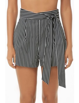 Belted Striped High Rise Shorts by Forever 21