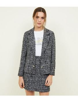 Black Bouclé Button Front Jacket by New Look