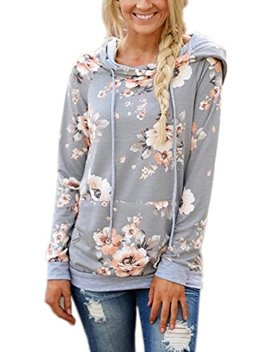 Eiffter Women Floral Print Pullover Hoodie Casual Long Sleeve Drawstring Hooded Sweatshirt With Pocket by Eiffter