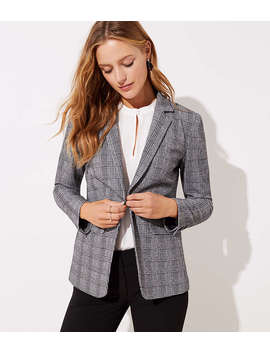 Petite Plaid Knit Blazer by Loft