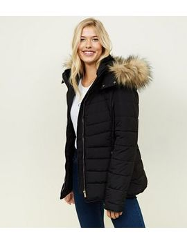 Tall Black Faux Fur Hooded Trim Puffer Jacket by New Look