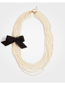 Pearlized Ribbon Necklace by Ann Taylor
