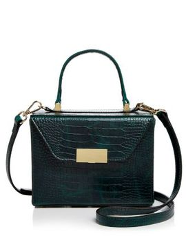 Medium Croc Embossed Box Bag Satchel   100 Percents Exclusive by Aqua