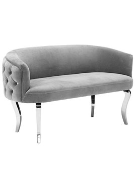 Tov Furniture The Adina Collection Contemporary Living Room Velvet Upholstered Loveseat, Grey With Silver Legs by Tov Furniture