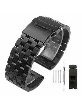 Brushed Stainless Steel Watch Band Strap 18mm/20mm/22mm/24mm/26mm Metal Replacement Bracelet With Double Lock Deployment Clasp For Men Women Black/Silver by Kai Tian