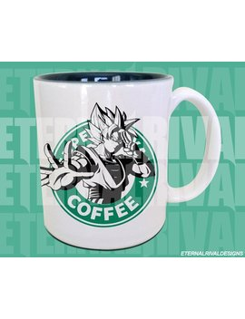 Martial Artist Alien Protaginist Powered Up Starbucks Anime Manga Japanese Insipred Cartoon Geek Nerd Goku Parody Mug by Etsy