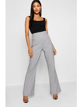 Relaxed Fit Woven Check Flared Trousers by Boohoo