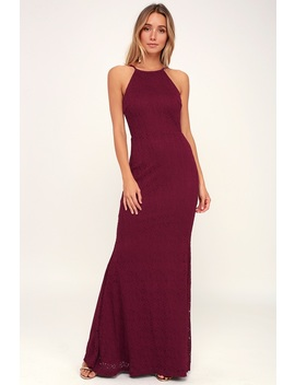 Ephemeral Allure Burgundy Lace Maxi Dress by Lulus