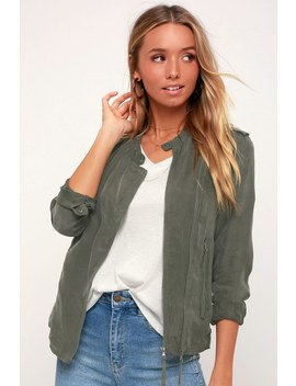 Paystub Olive Green Lightweight Jacket by Blank Nyc