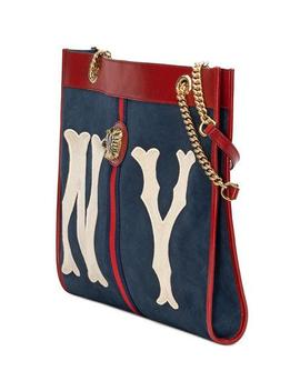 Linea Tiger Large Suede Tote Bag With Ny Yankees Mlb Patch by Gucci