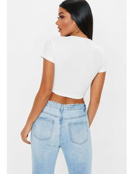 White Horn Button Rib Crop Top by Missguided