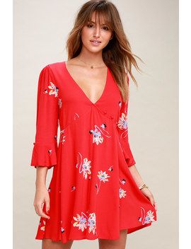 Time On My Side Red Floral Print Wrap Dress by Free People