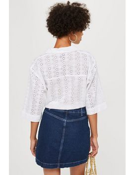 Petite Broderie Knot Front Cami Top by Topshop