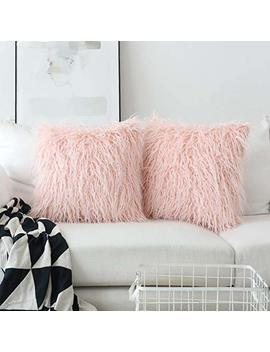 Deluxe Home Decorative Super Soft Plush Mongolian Faux Fur Accent Throw Pillow Cover Cushion Case For Bed, Set Of 2 (18 X 18 Inch, Pink) by Home Brilliant