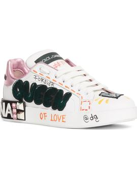 Queen Graffiti Lace Up Sneaker by Dolce&Gabbana