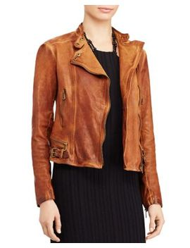 Burnished Leather Moto Jacket by Lauren Ralph Lauren