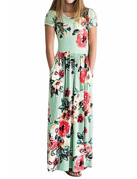 Ofenbuy Girl Dresses Floral Print Crew Neck Short Sleeve Empire Waist Maxi Dress by Ofenbuy