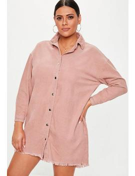 Plus Size Dusky Pink Oversized Cord Shirt Dress by Missguided