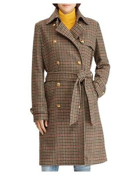 Houndstooth Wool Trench Coat   100 Percents Exclusive by Lauren Ralph Lauren