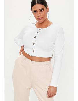 Plus Size White Ribbed Button Front Long Sleeve Crop Top by Missguided