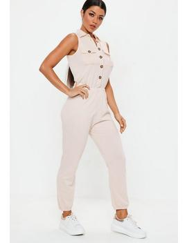 Nude Button Down Jumpsuit by Missguided